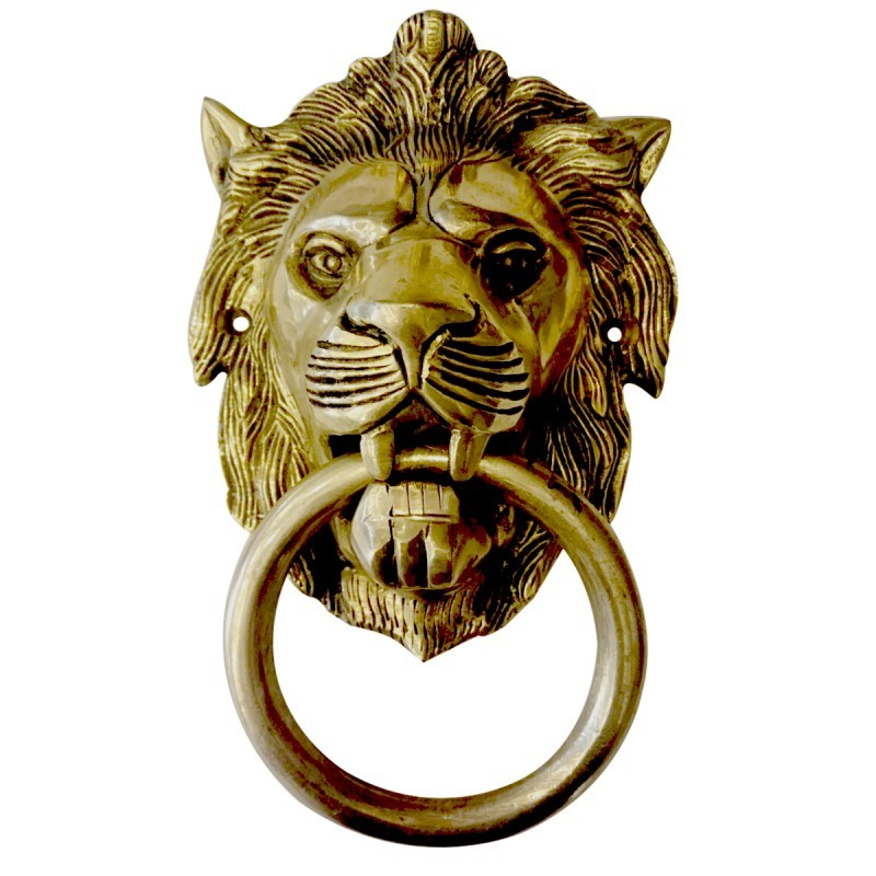 Brass Lion Face Door Knocker